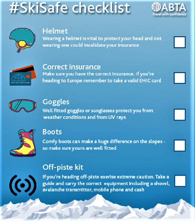 Ski holiday safety advice