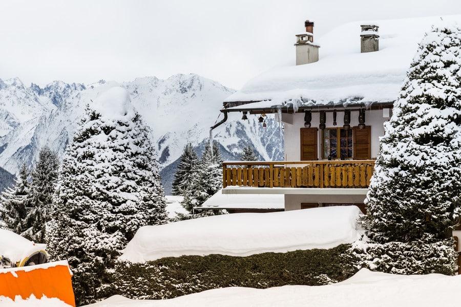 Beautiful view on the valley in Swiss Alps, Verbier, Switzerland.