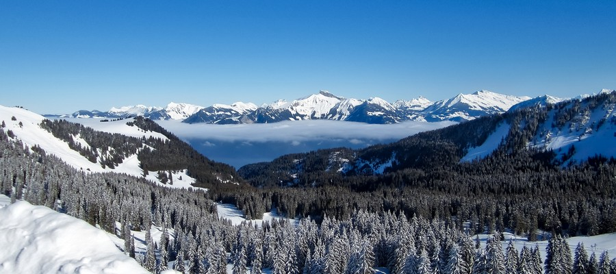 Cloud over the Valley in French Alps, Chatel, France